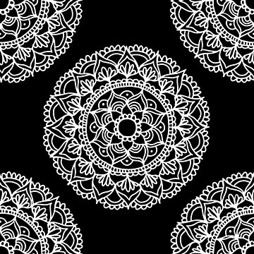 Black and White Mandala by julieerindesign