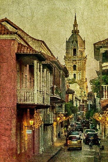 Vintage Grunge Urban View of Cartagena Architecture by DFLC Prints