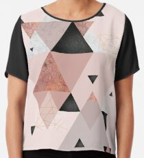 Geometric Compilation in Rose Gold and Blush Pink Chiffon Top