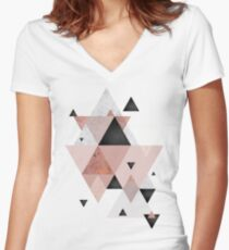 Geometric Compilation in Rose Gold and Blush Pink Women's Fitted V-Neck T-Shirt