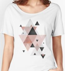 Geometric Compilation in Rose Gold and Blush Pink Relaxed Fit T-Shirt