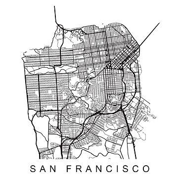 San Francisco CA Minimalist City Street Map Dark Design by Andrewkgolf