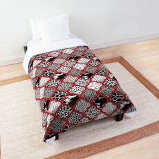 Moroccan Animal Prints Pattern - Red Grey  Comforter