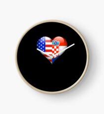 Croatian Flag Heart - American and Croatia Heart Flag for Croatian  Uhr
