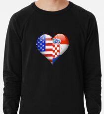 Croatian Flag Heart - American and Croatia Heart Flag for Croatian  Leichter Pullover