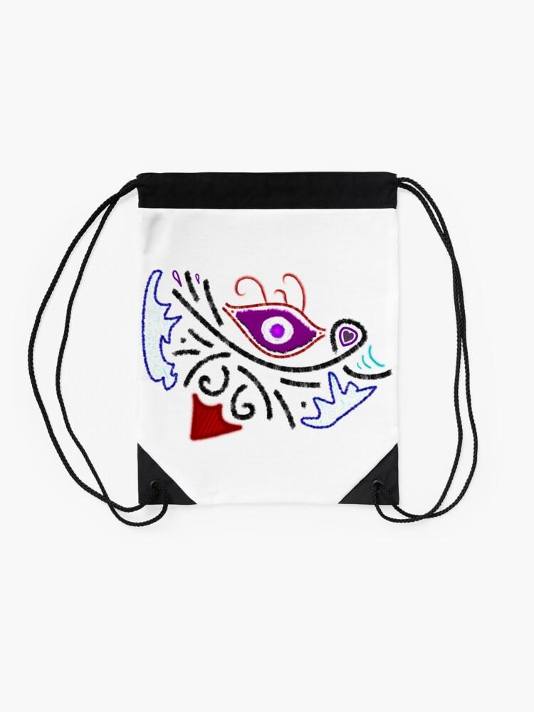 Alternate view of Merch #1 -- Rustic Tribal Cyclops Insignia Drawstring Bag