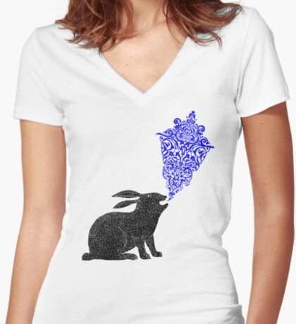 Rabbit Sings the Blues Women's Fitted V-Neck T-Shirt