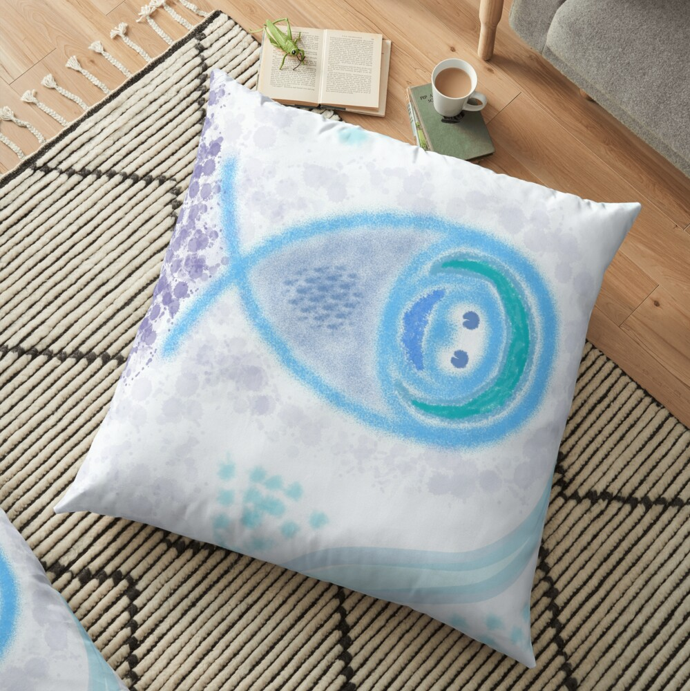 Merch #2 -- Aquatic Splatter Splash Floor Pillow