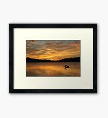 Sunrise over Narrabeen Lake + Pelican Framed Print