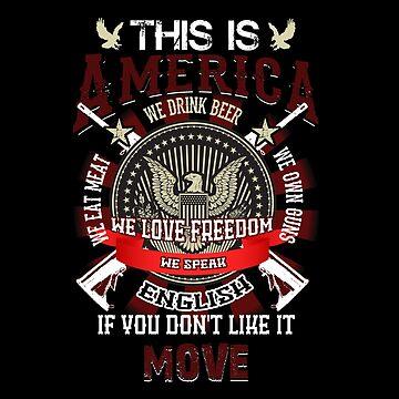 This Is America We Love Freedom USA Flag Proud Honor Tshirt by djpraxis