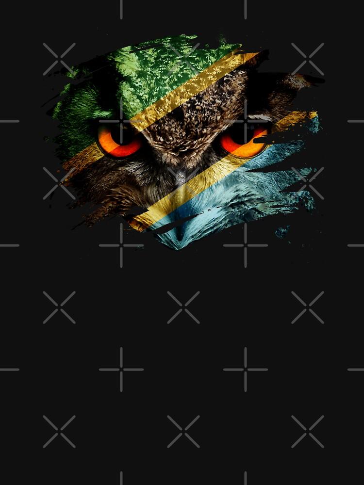 Tanzania Flag and Menacing Owl by ockshirts