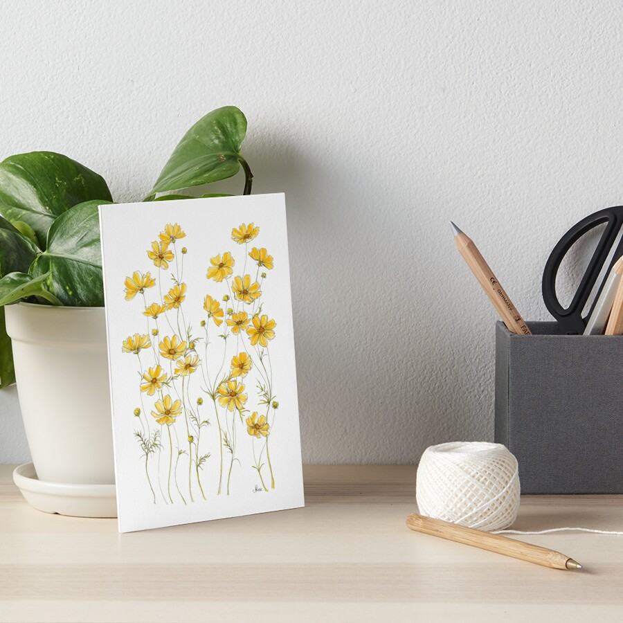 Yellow Cosmos Flowers Art Board Print