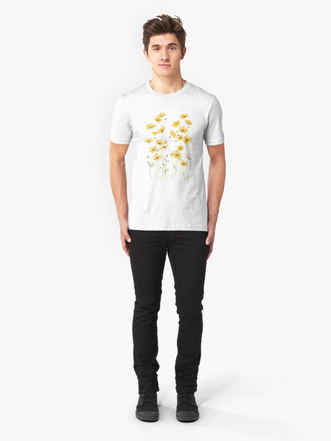 Alternate view of Yellow Cosmos Flowers Slim Fit T-Shirt