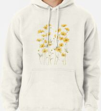 Yellow Cosmos Flowers Pullover Hoodie