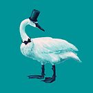Funny Swan With Bow Tie And Top Hat by Boriana Giormova