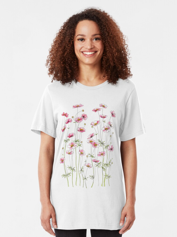 Alternate view of Pink Cosmos Flowers Slim Fit T-Shirt