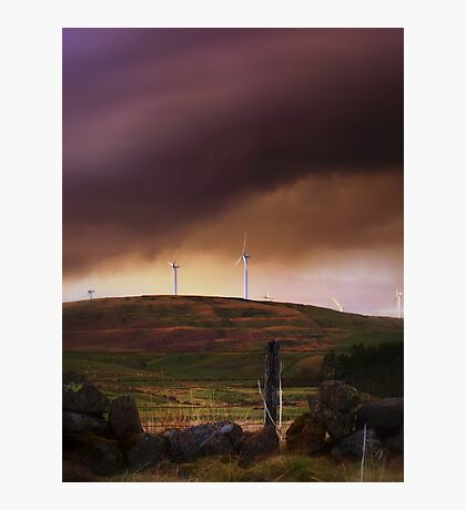 Stormy Clouds Over A Scottish Wind Farm. Photographic Print