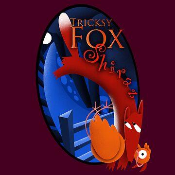 Wine label design for Tricksy Fox Shiraz by Louiecat1