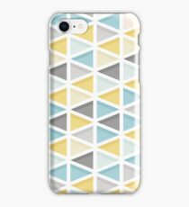 Blue, Mustard and Grey Triangle Pattern iPhone Case/Skin