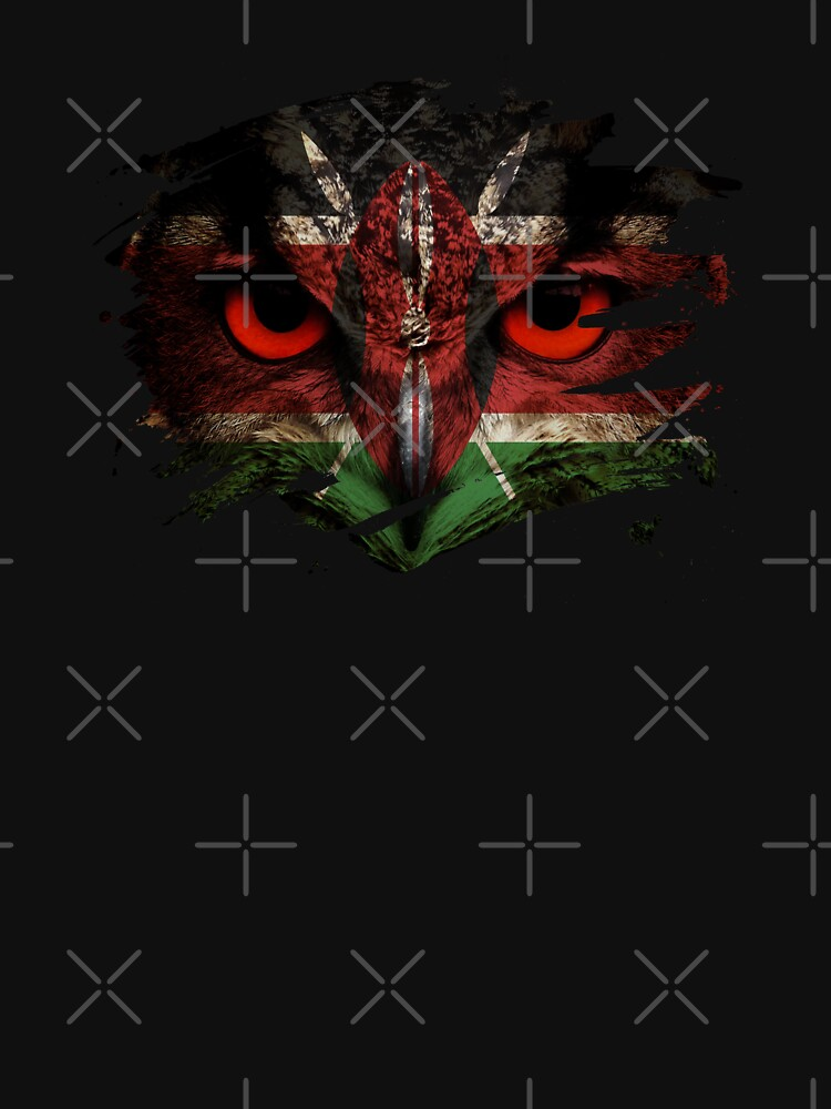Kenya Flag and Menacing Owl by ockshirts