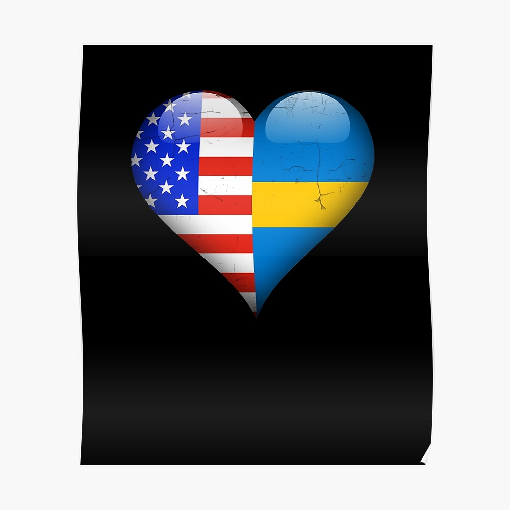 Swedish Flag Heart - American and Sweden Heart Flag for Swedish  Poster