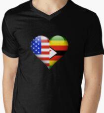Zimbabwean Flag Heart - American and Zimbabwe Heart Flag for Zimbabwean  T-Shirt mit V-Ausschnitt für Männer