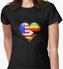 Zimbabwean Flag Heart - American and Zimbabwe Heart Flag for Zimbabwean  Tailliertes T-Shirt für Frauen