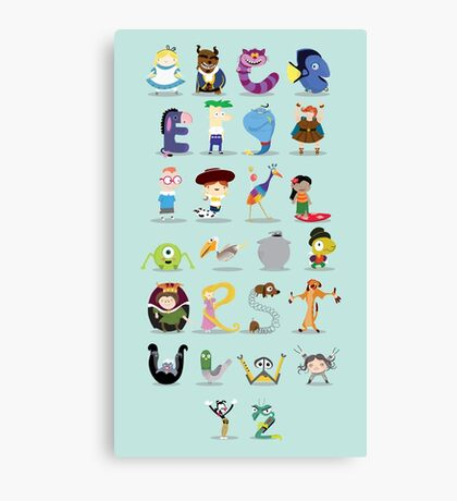 Animated characters abc Canvas Print