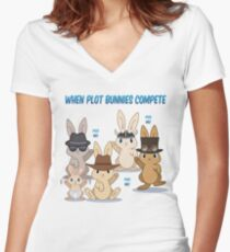 When Plot Bunnies Compete Women's Fitted V-Neck T-Shirt