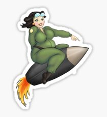 Fat Lady Riding A Missile Sticker