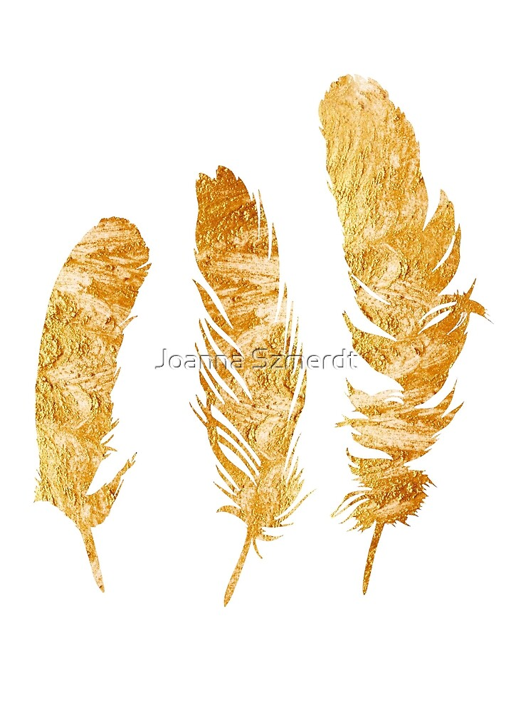 Gold feathers watercolor painting by Joanna Szmerdt