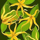 Ylang Ylang Exotic Scented Flowers and Leaves Pattern by BluedarkArt