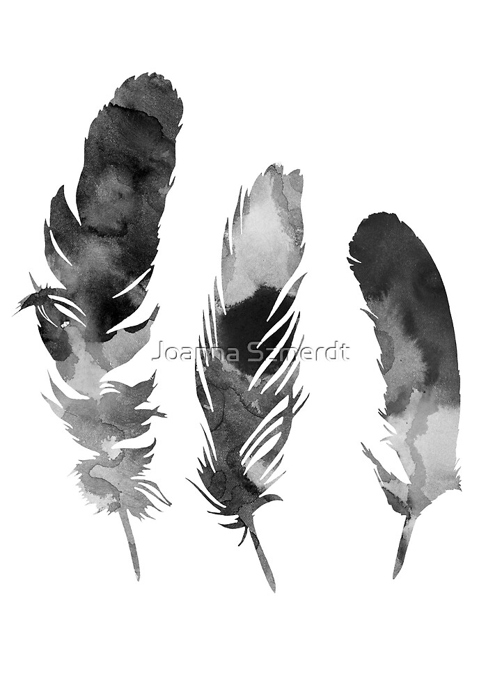 Three feathers silhouette by Joanna Szmerdt