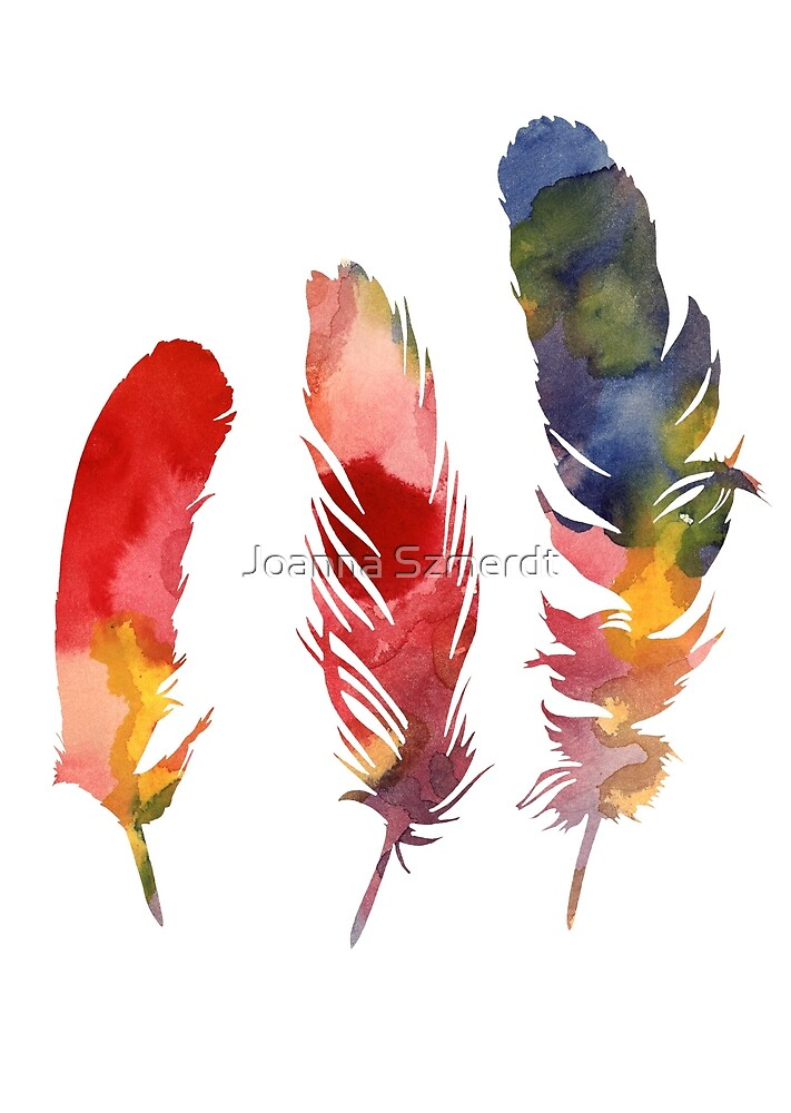 Feathers watercolor painting by Joanna Szmerdt