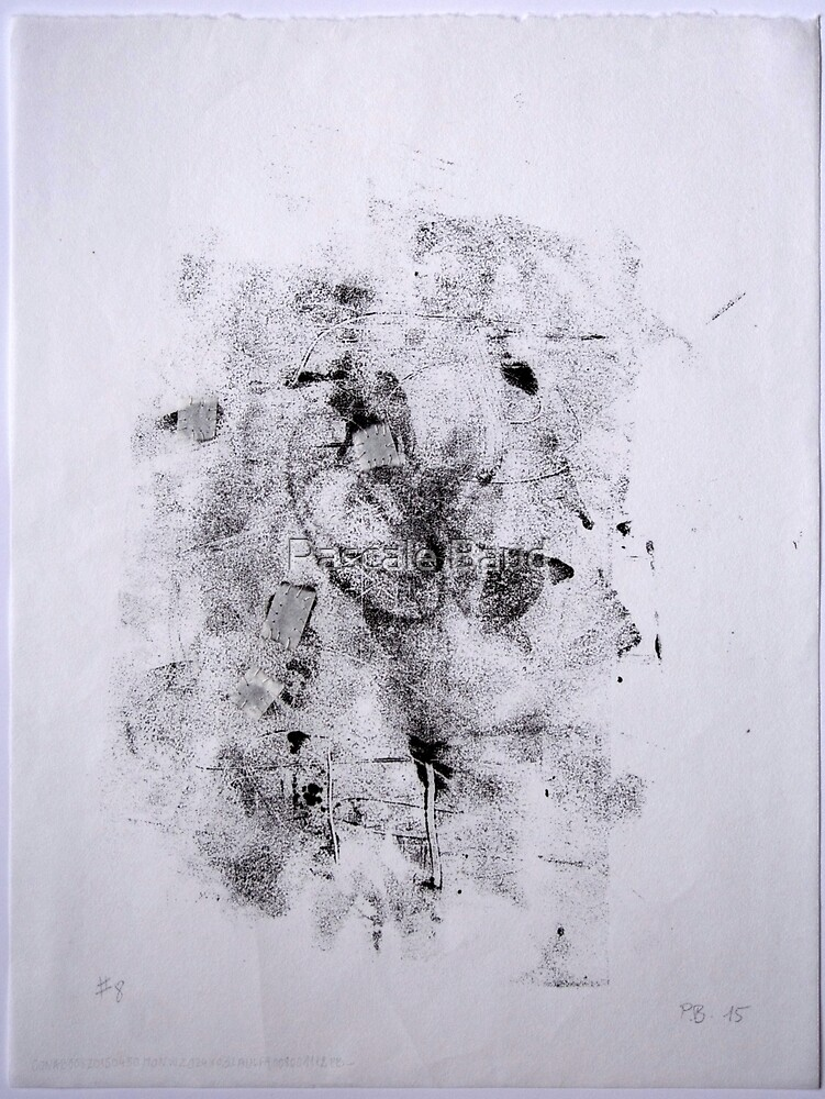 Contraintes et Abandon #8 - Monotype on Wenzhou Paper + pieces of paper sewn by Pascale Baud