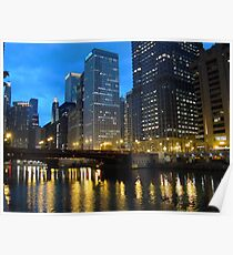 Dearborn Street Bridge at Night Poster