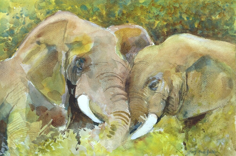 Big hugs by Mary Faux Jackson by HurstPainters