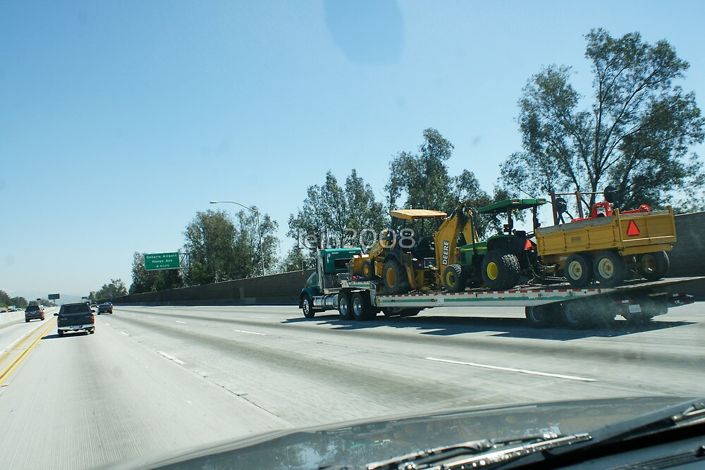 Construction vehicles on route to work; Ontario, CA USA Interstate 10 by leih2008