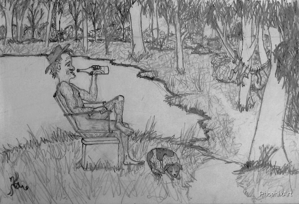 A Man And His Dog At The Lagoon. by PhoenixArt