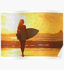 Surfer girl, Ocean art, sea life Poster