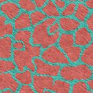 Giraffe Fur Pattern Coral and Teal by BigAl3D