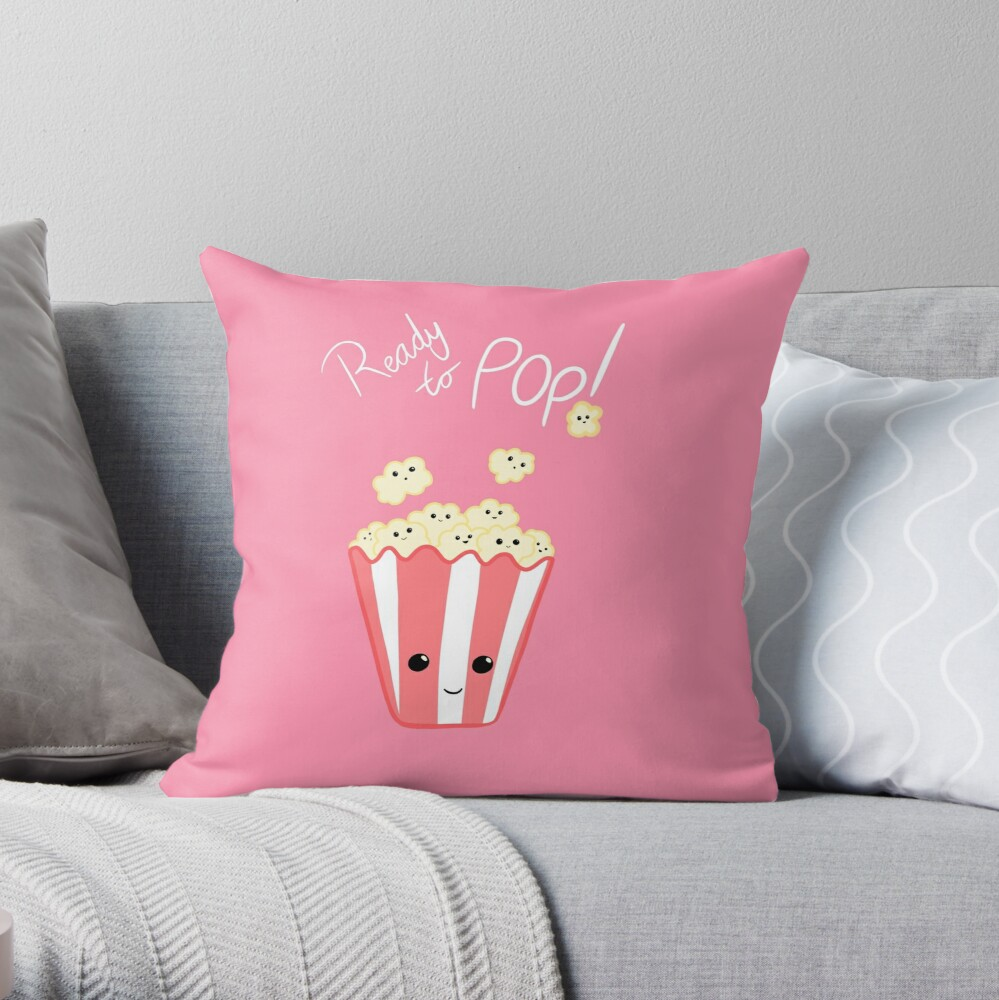 Funny Expecting card - Ready to Pop - Funny Pregnant - Pregnancy - Baby Shower - Gift - Popcorn Pun - Funny expectant mom mum Throw Pillow