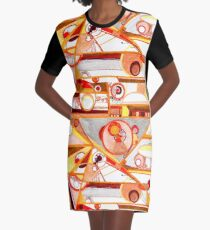 Economies of Scale, Ink drawing Graphic T-Shirt Dress