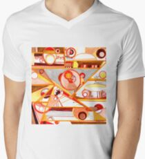 Economies of Scale, Ink drawing V-Neck T-Shirt