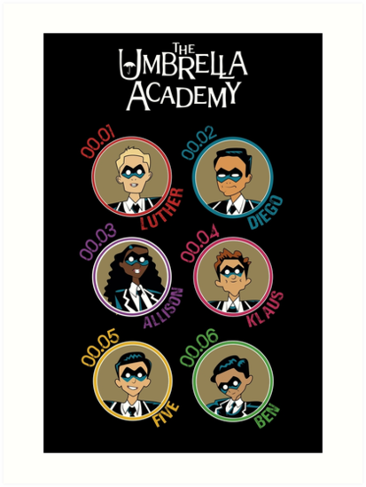 UMBRELLA ACADEMY: ALL CHARACTERS CARTOON (COLORS) by FunGangStore