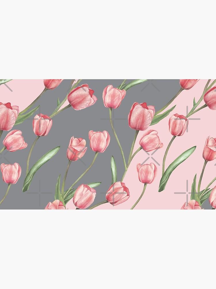 Patrón lindo con tulipanes y hojas, variación acuarela 4 de SASHA-MATBON