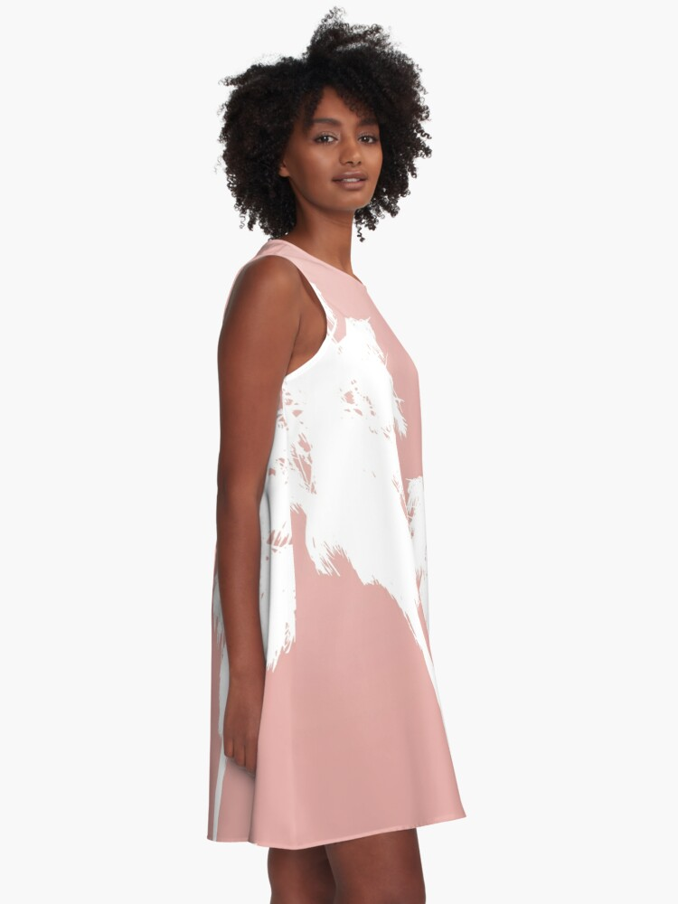 Alternate view of White Palm Trees on Rose Gold A-Line Dress