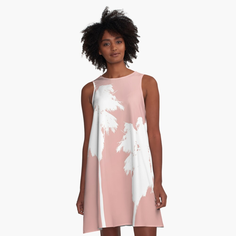 White Palm Trees on Rose Gold A-Line Dress