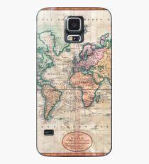 Weinlese-Weltkarte 1801 Hülle & Klebefolie für Samsung Galaxy