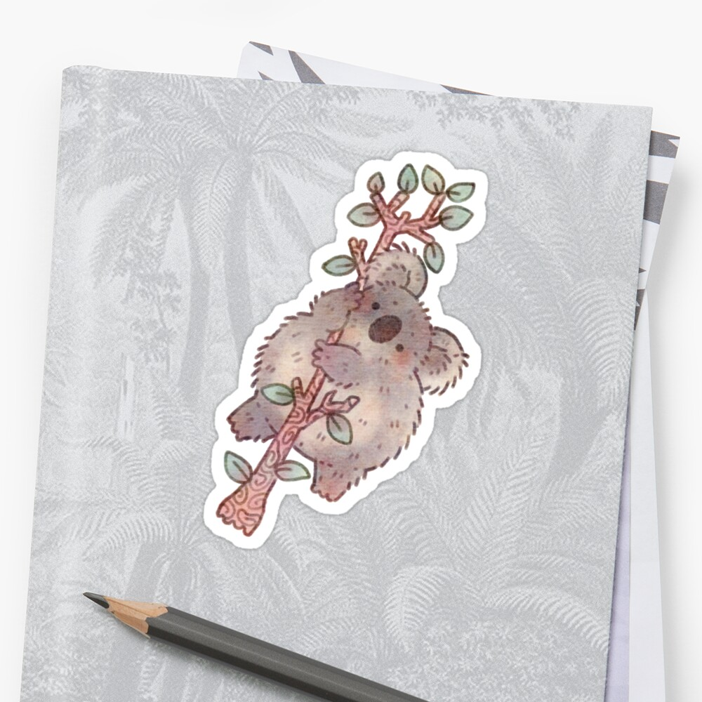 Chubby Koala on a Tree - Australian Wildlife Sticker